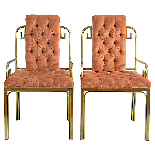 Mastercraft Brass Armchairs, s/2
