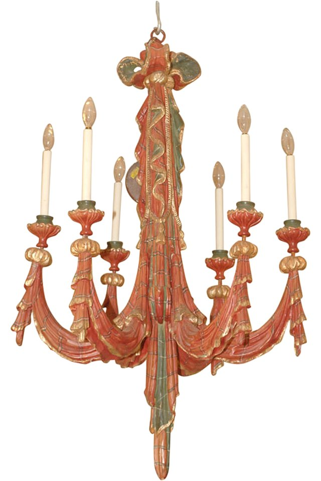 Venetian Painted Wood Chandelier