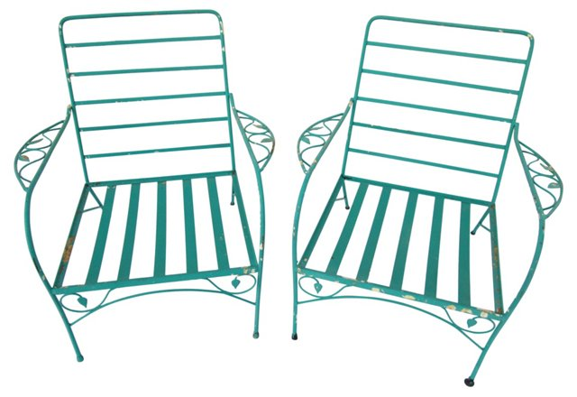 Turquoise Iron Chairs,  Pair