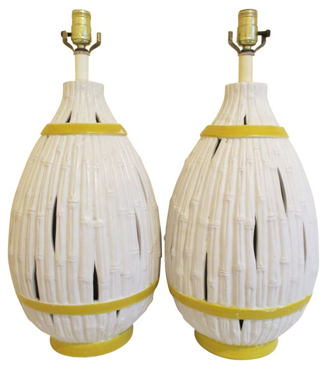 Faux-Bamboo Lamps, Pair
