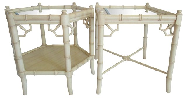 Faux-Bamboo  Side Tables, Pair
