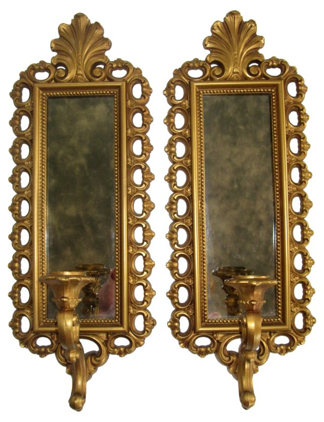 Smoked Mirrored Sconces, Pair