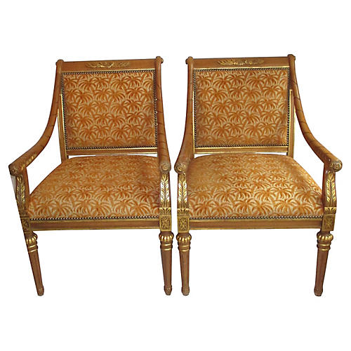 Pair of Gilded Accent Chairs