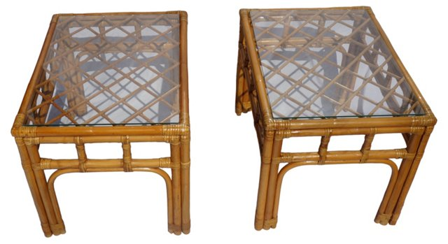 Rattan End Tables, Pair