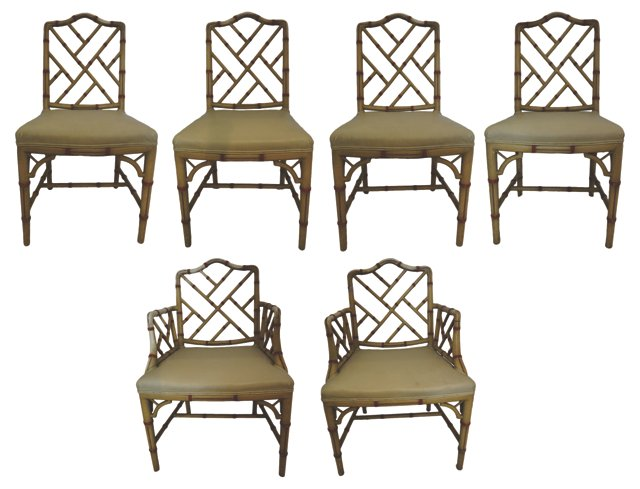 Painted Faux-Bamboo Dining Chairs, S/6