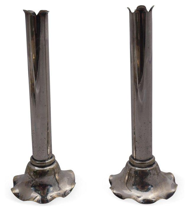 English Silver-Plate Ruffle Bud Vases,Pr