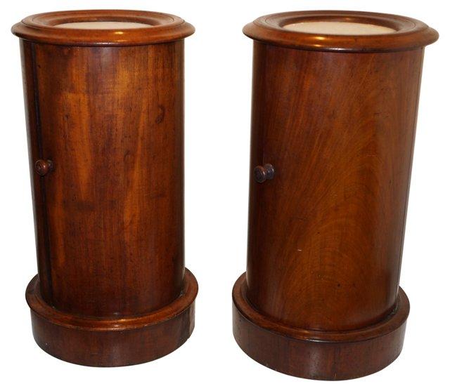 19th-C.  English Po Tables, Pair