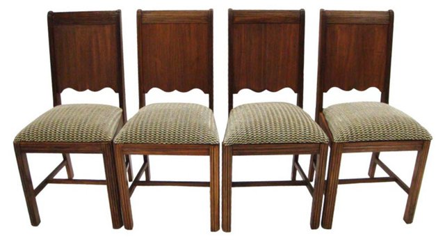 American Art Deco Dining Chairs, S/4