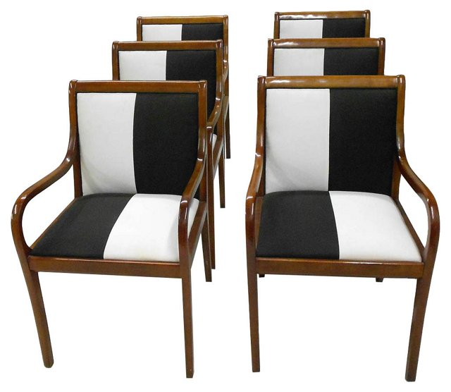 Black & White Armchairs, S/6