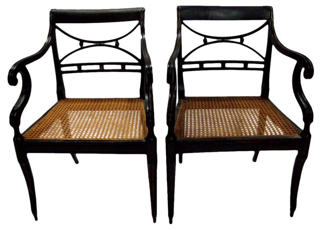 Early-20th-C.  Armchairs, Pair