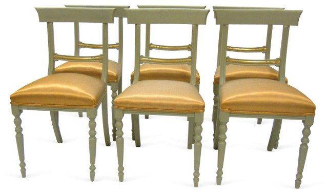 Painted Dining Chairs,  S/6