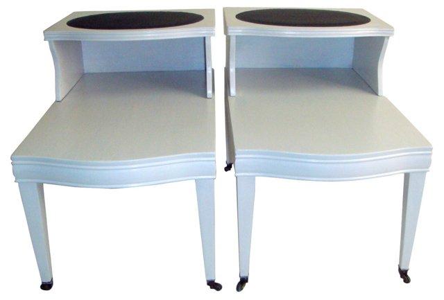 Midcentury 2-Tier   Side Tables, Pair