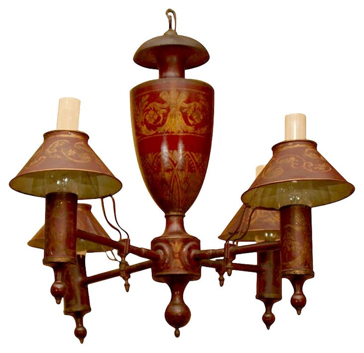 19th-Century French Tole Chandelier