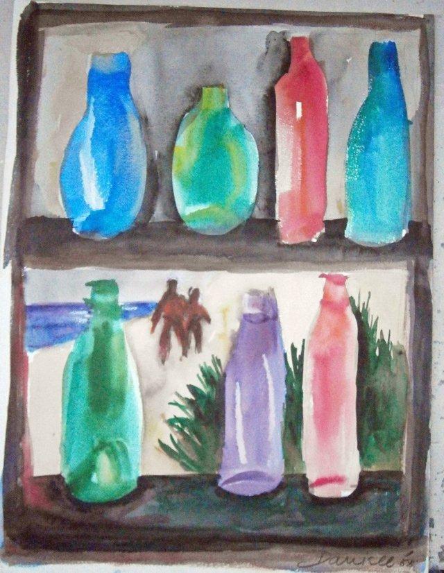 Bottles in Window Watercolor