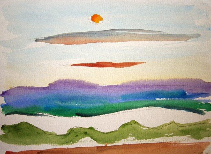 Bold Seascape Original Watercolor
