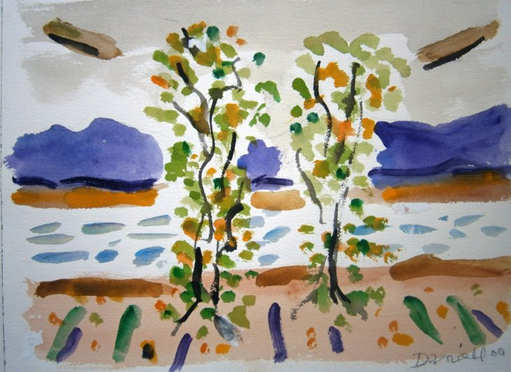Young Trees in Spring Landscape