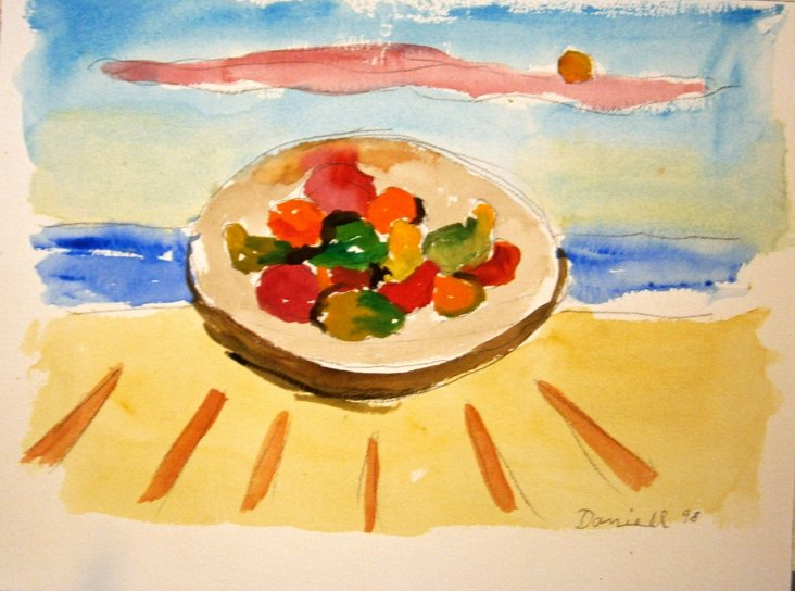 Fruit at the Sea Watercolor