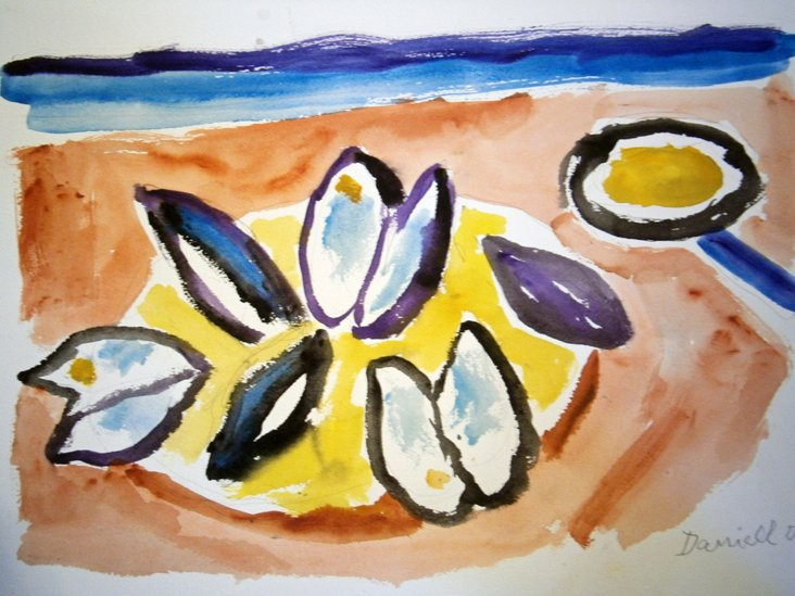 Plate of Mussels w/ Butter Watercolor