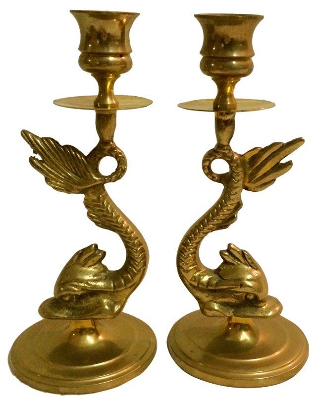Brass Koi Candleholders, Pair