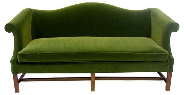 Green Velvet Camelback  Sofa