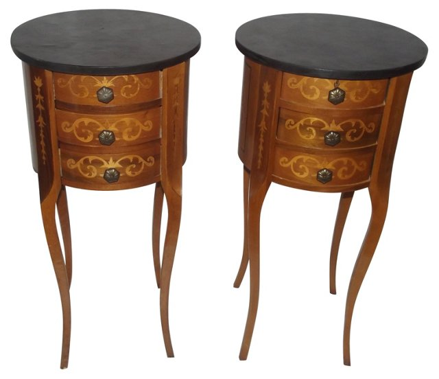 20th-C. Louis XVI-Style Tables, Pair