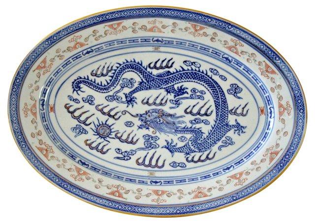 Blue Dragon Porcelain Vegetable Dish