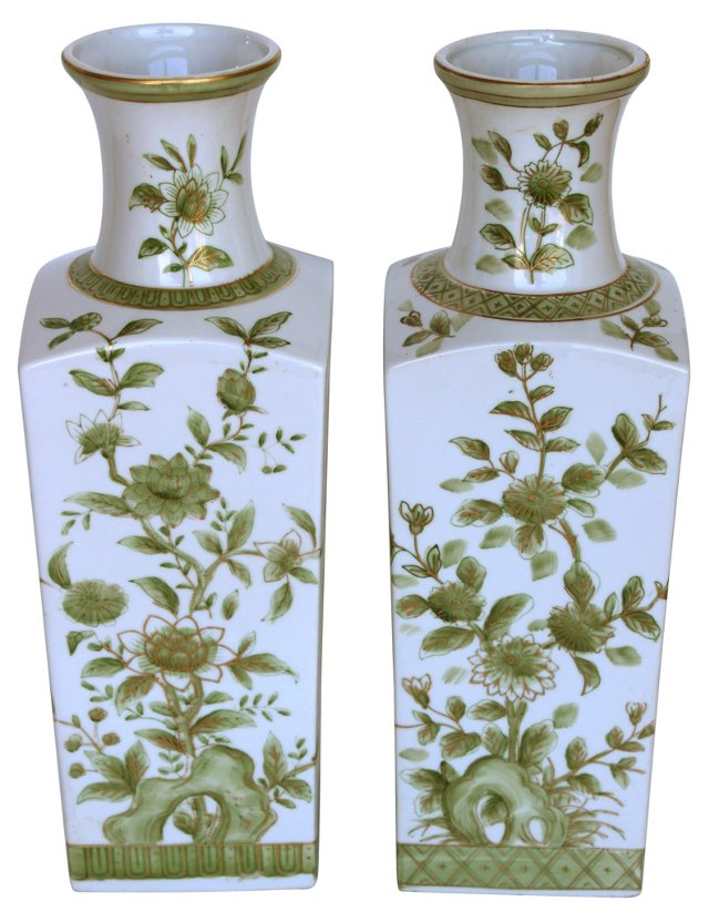 Ceramic Japanese  Vases, Pair