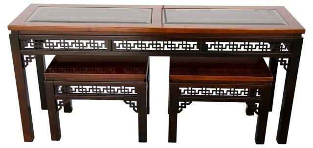 Asian-Style Console & Bench Set, 3 Pcs.