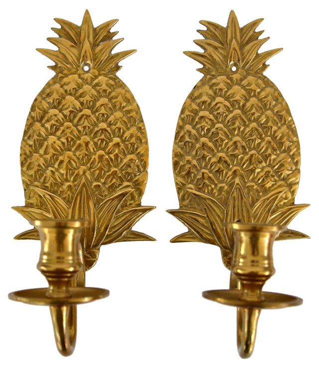 Brass Pineapple Sconces, Pair