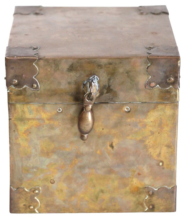 Brass Tabletop Trunk-Style Box