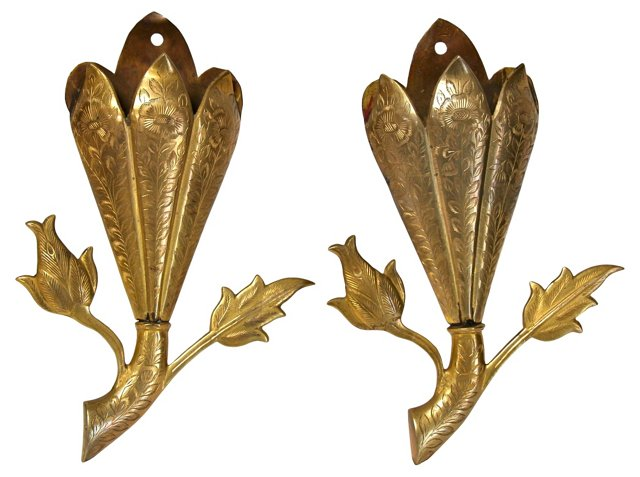 Brass Etched Flower Wall Pockets, Pair