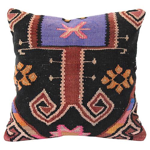 Lilac & Black Turkish Kilim Cushion