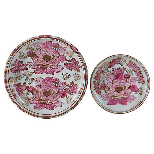 Gold Imari Porcelain Ashtrays, Pair