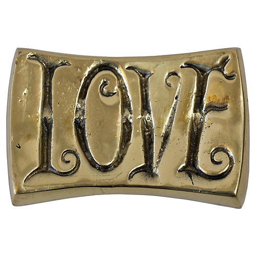 Brass Love/Hate Paperweight