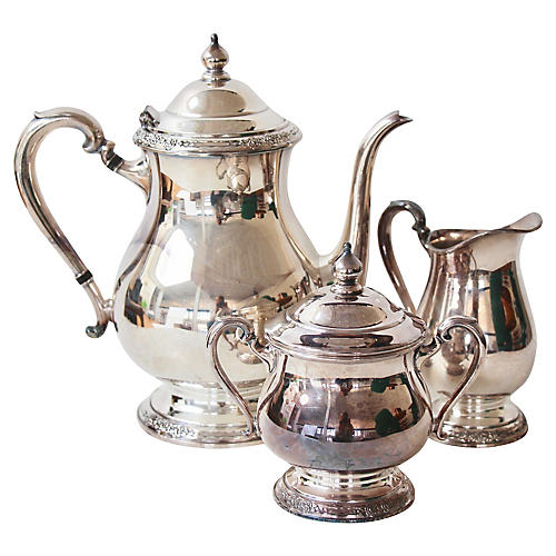 Silver-Plate Tea Set, 3 Pcs