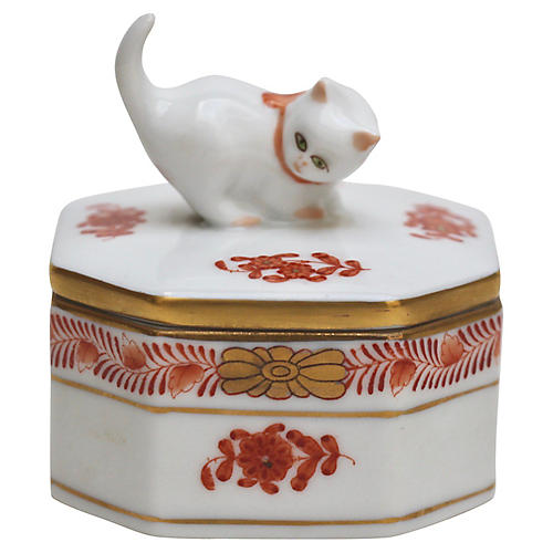 Herend Porcelain Kitten Box