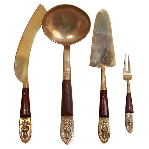Thai Brass & Rosewood Serving Set, 4 Pcs