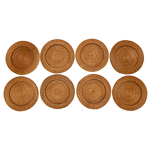 Rattan Coiled Charger Plates, S/8