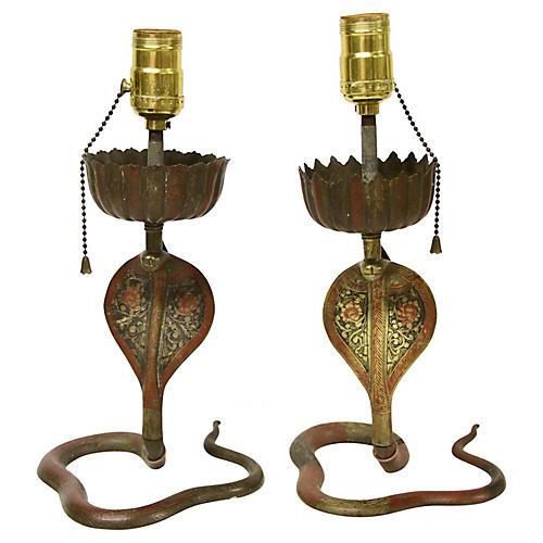 Enameled Brass Cobra Lamps, Pair