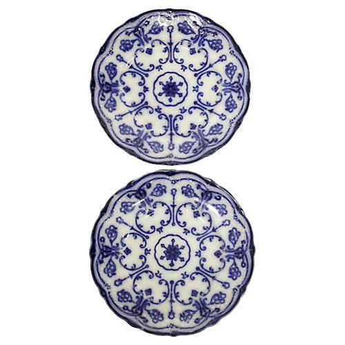 Conway Flow Blue Wall Plates, Pair