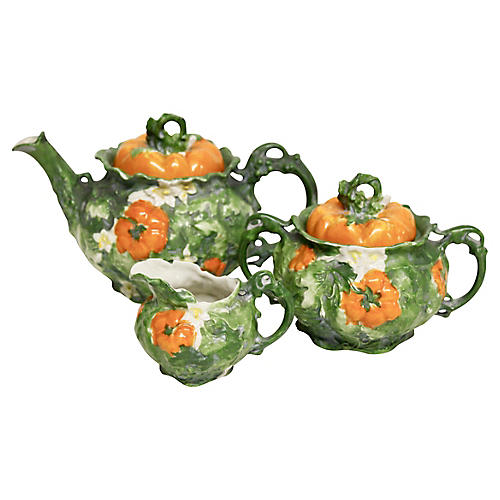 Vienna Porcelain Persimmon Tea Set, S/5