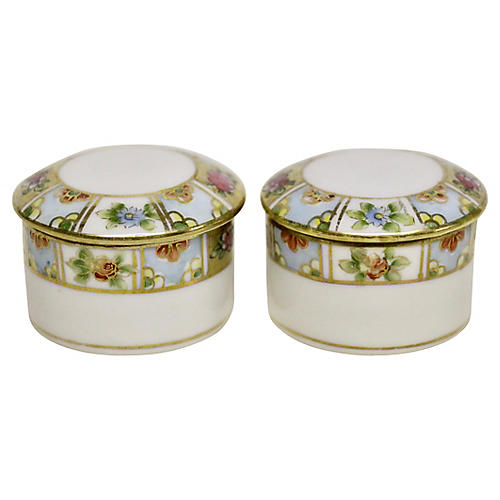 Nippon Porcelain Pill Boxes, Pair