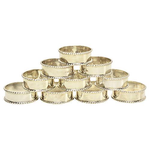 English Sterling Napkin Rings, S/10