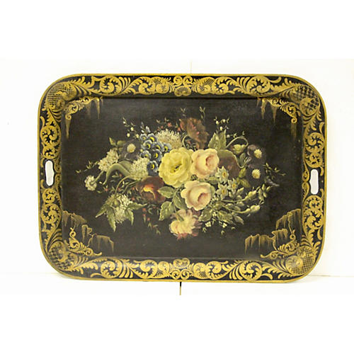 Large Antique French Tole Tray