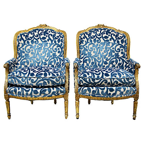 French Giltwood Bergères, Pair