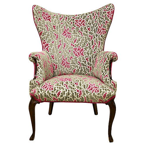 French High-Back Wing Chair