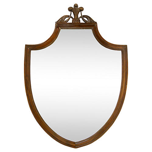 Federal-Style Mahogany Shield Mirror