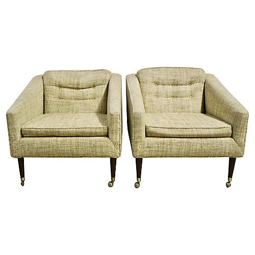 Mid Century Club Chairs, Pair