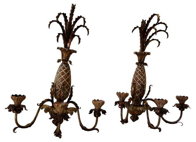 Pineapple Sconces, Pair
