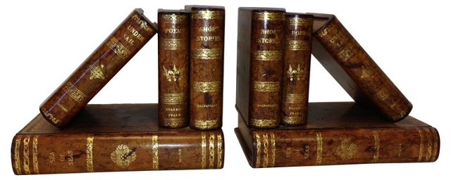 Maitland-Smith Leather Bookends, Pair